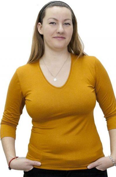 Блуза със 7/8 ръкав в цвят горчица