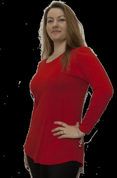 Туника с дълъг ръкав червен цвят