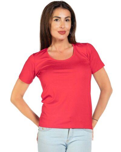 Дамска блуза с къс ръкав червена