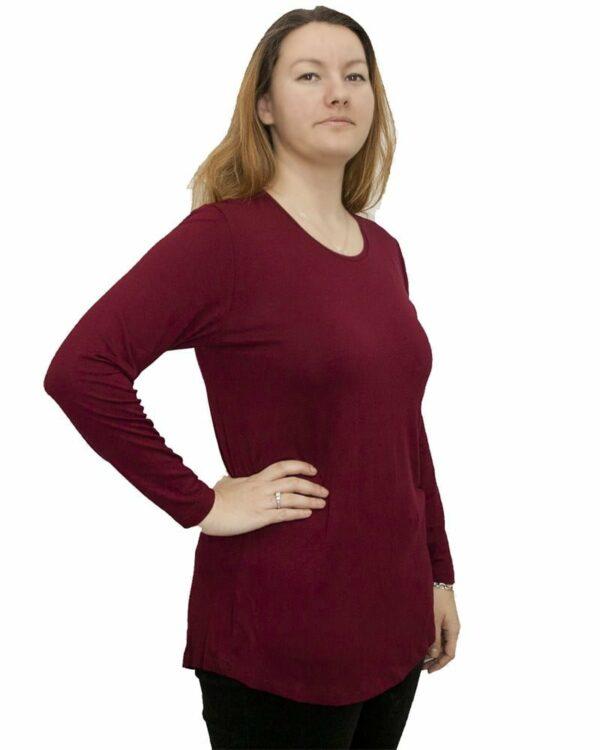 Дамска туника с дълъг ръкав бордо