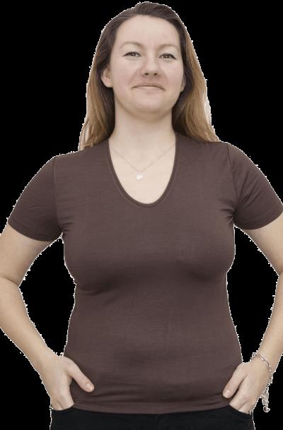 Дамска блуза с къс ръкав кафява