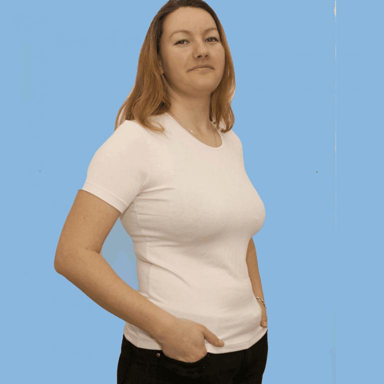Дамска блуза с къс ръкав, шампанско