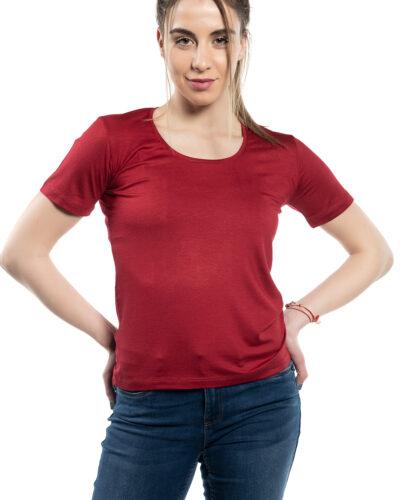 Дамска блуза с къс ръкав бордо