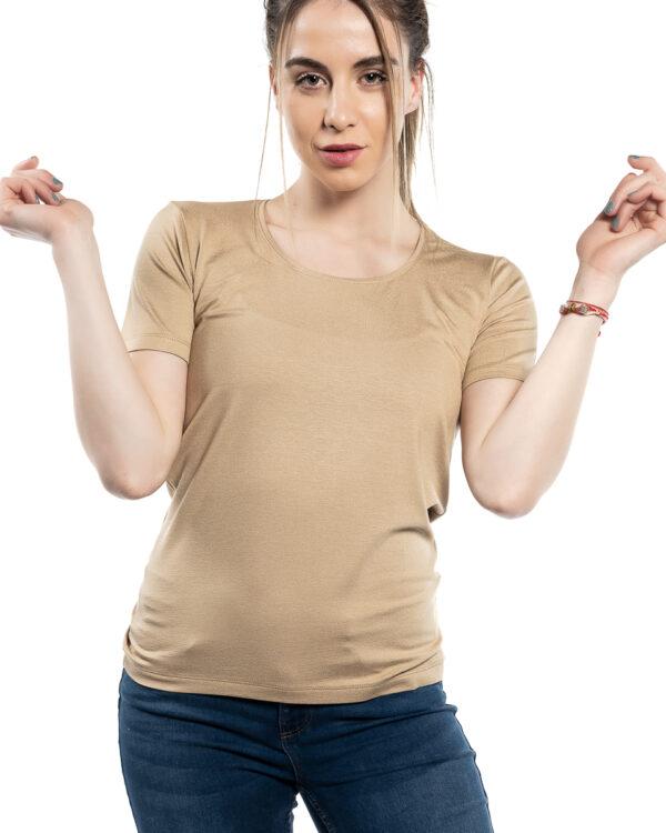 Дамска блуза с къс ръкав бежoв цвят