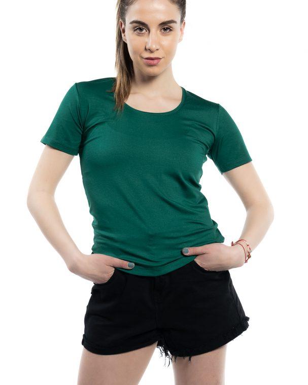 Блуза с къс ръкав тъмно зелена