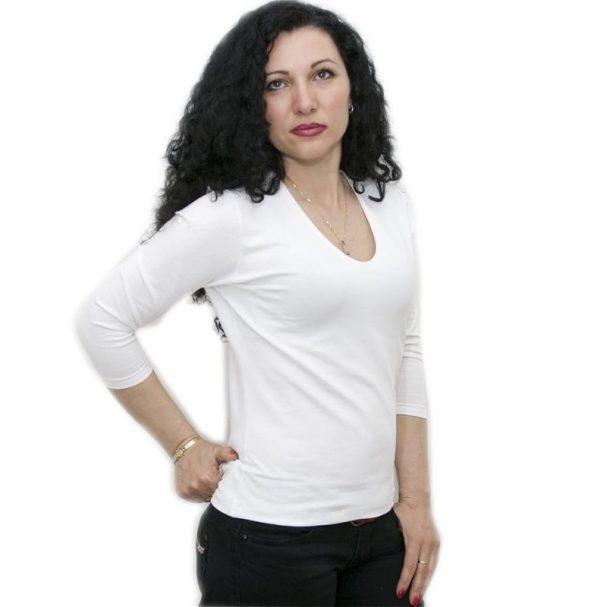 Блуза със 7/8 ръкав бяла