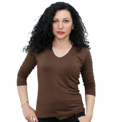 Блуза със 7/8 ръкав кафява