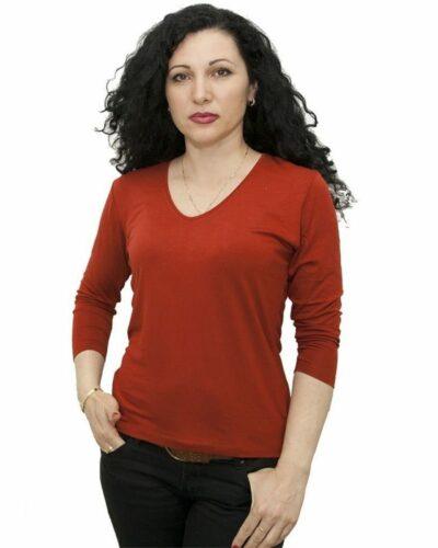 Блуза със 7/8 ръкав керемиден цвят