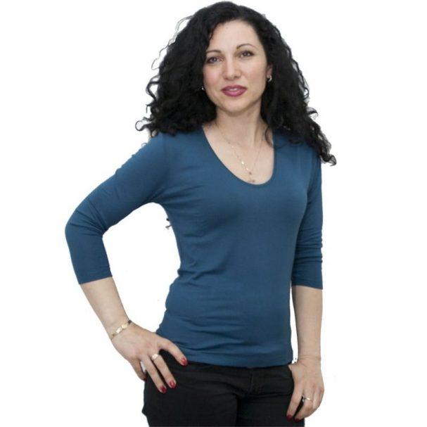 Блуза със 7/8 ръкав цвят петрол