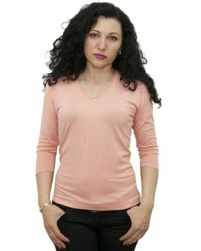 Блуза с 7/8 ръкав прасковен цвят
