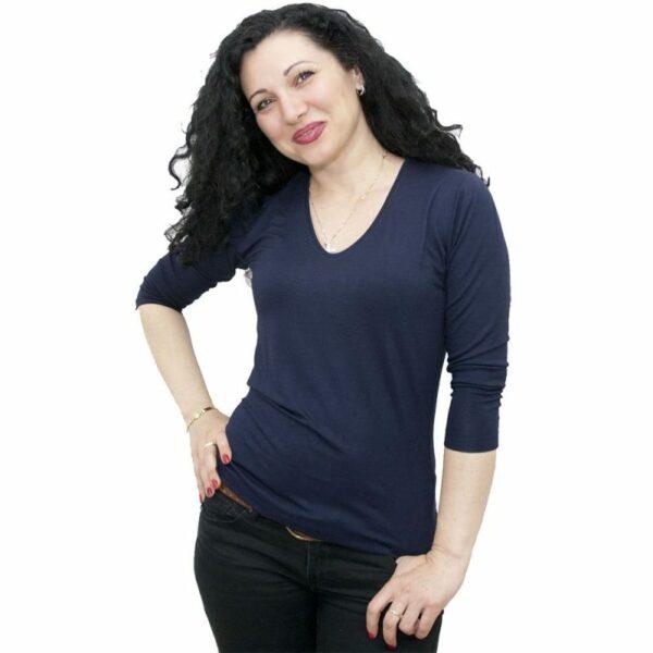 Блуза със 7/8 ръкав тъмно синя