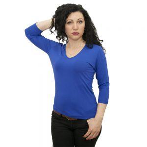 блуза-със-78-ръкав-турско-синя