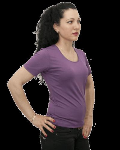 Дамска блуза с къс ръкав тъмно лилава