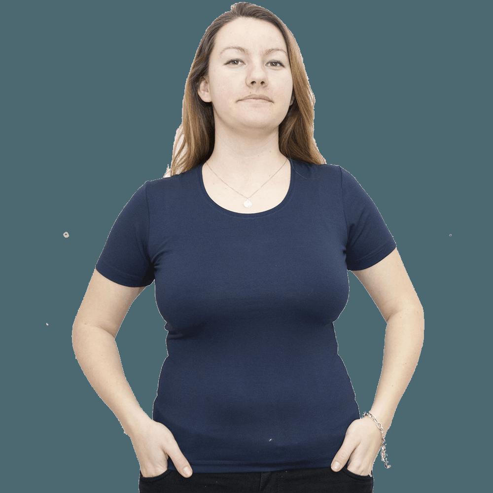 Дамска блуза с къс ръкав, тъмно синя