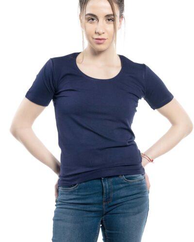 Дамска блуза с къс ръкав тъмно синя