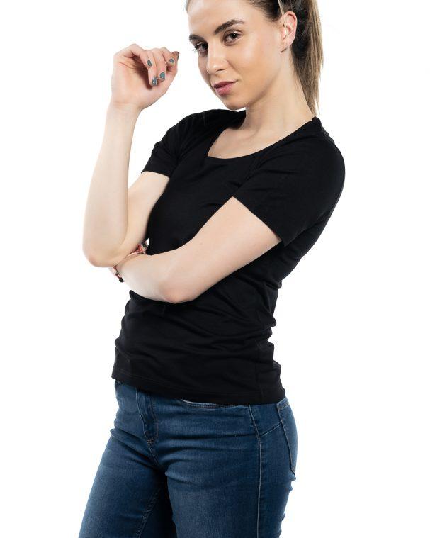 Дамска блуза с къс ръкав черна