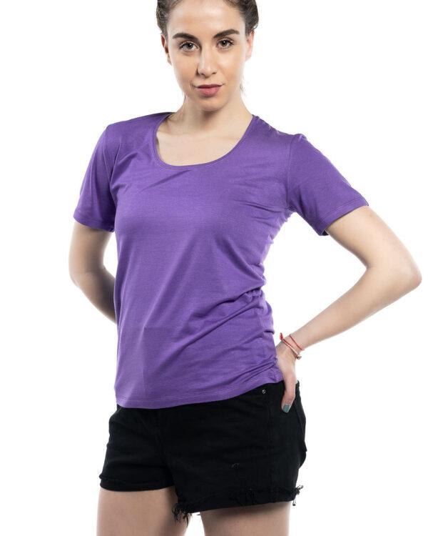Блуза с къс ръкав светло лилава
