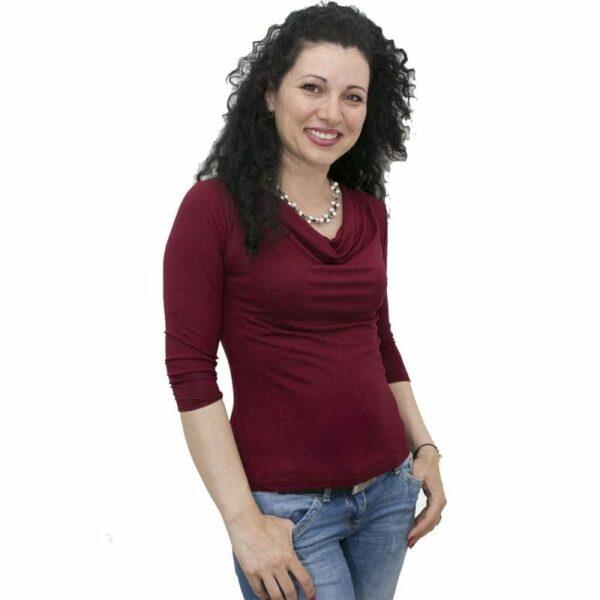 Блуза с гръцко деколте бордо