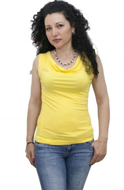 Блуза с гръцко деколте без ръкав жълта