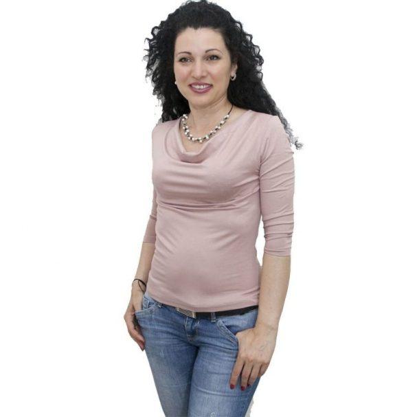 Блуза с гръцко деколте пепел от рози