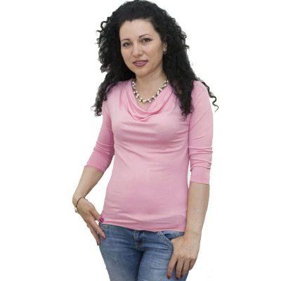 Блуза с гръцко деколте розова