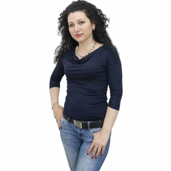Блуза с гръцко деколте тъмно синя