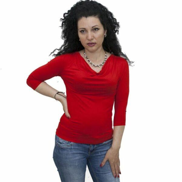 Блуза с гръцко деколте червена