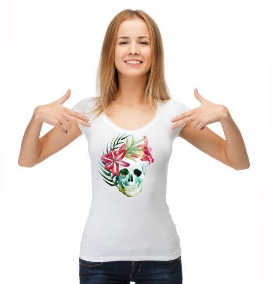 Блуза череп с цветя