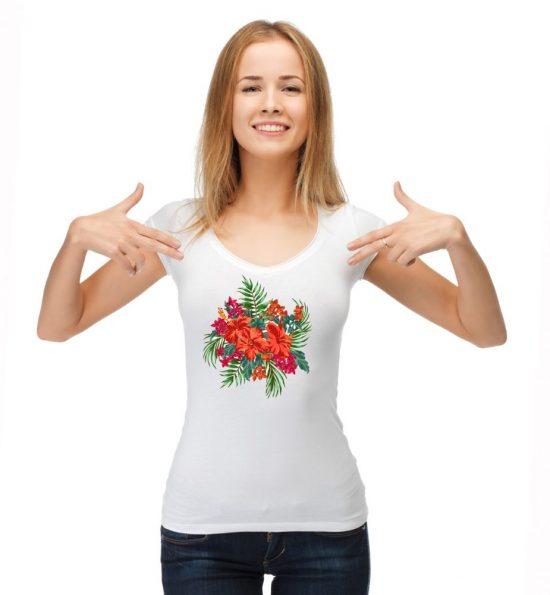 Блуза джунгла с червено цвете