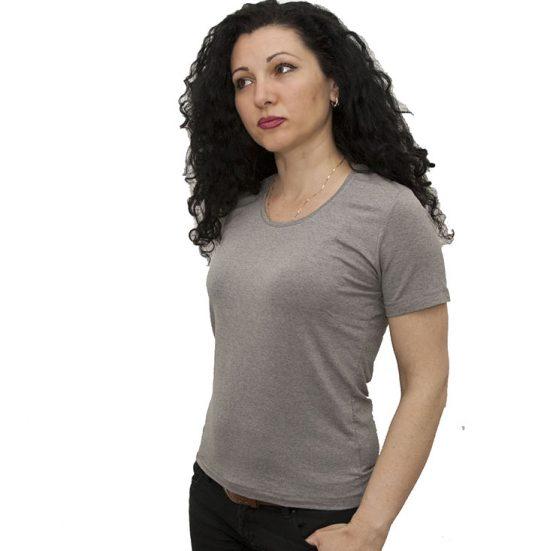 Дамска блуза с къс ръкав,сива