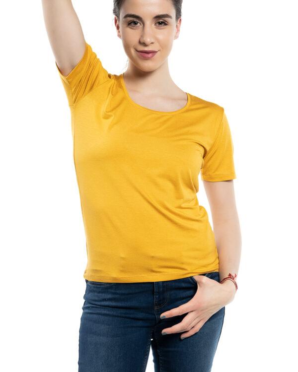 Дамска блуза с къс ръкав горчица