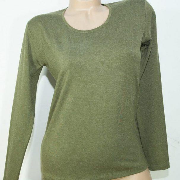Дамска блуза с ангора цвят маслина