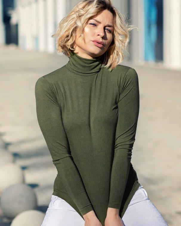 Дамско поло с ангора цвят маслина