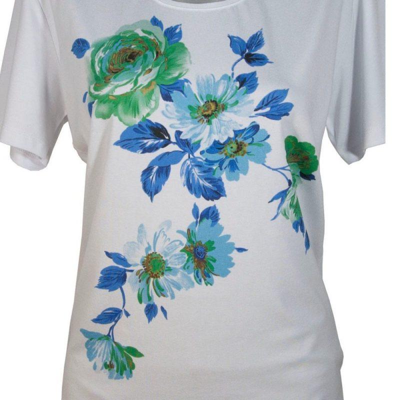 Дамска тениска със сини цветя