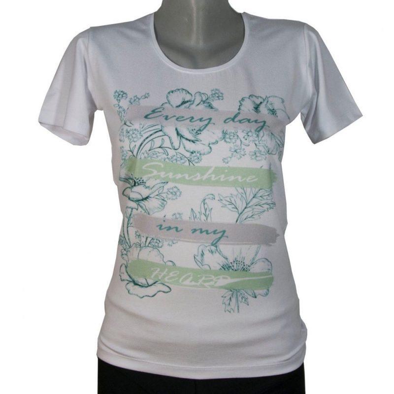 Дамска тениска с щампа на свежи цветя