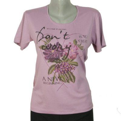 Дамска тениска розова с цветя