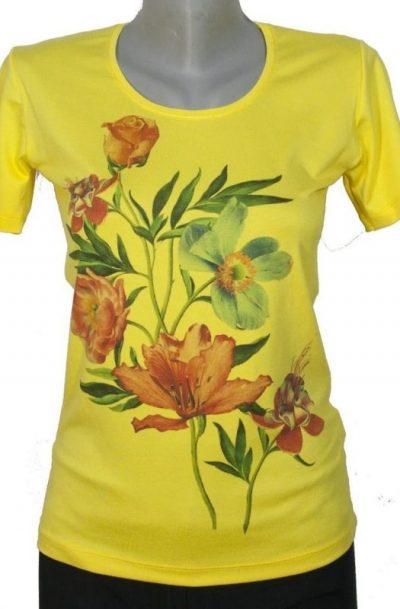 Блуза с цветя в жълт цвят
