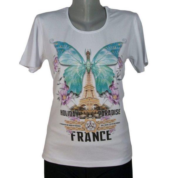 Дамска тениска с пеперуда