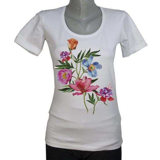 Блуза с рисувани цветя