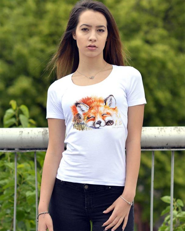 """Дамска блуза със къс ръкав """"Спящата лисица"""""""