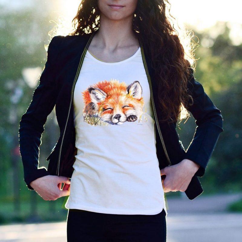 """Дамска блуза с къс ръкав 'Спящата лисица"""""""