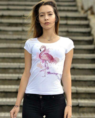 Памучна тениска с розово фламинго