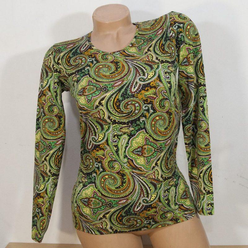 Блуза с кашмирен десен в зелено