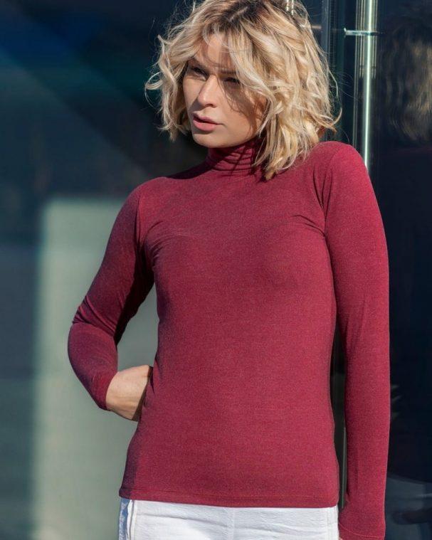 Дамско поло с ангора цвят бордо