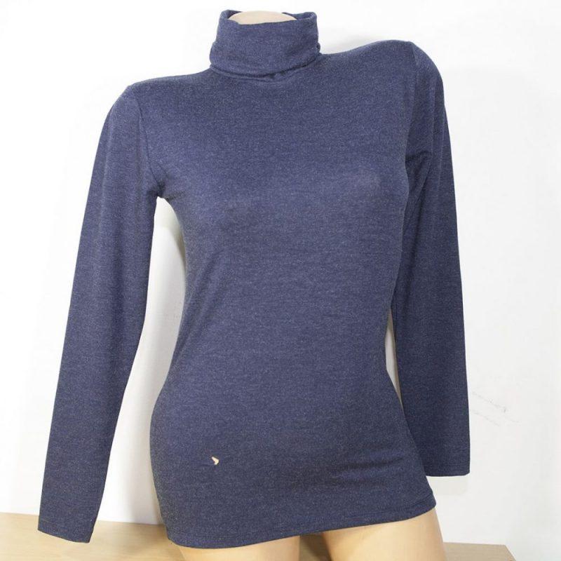 Дамско поло с ангора, тъмно син цвят