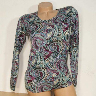 Блуза с кашмирен десен в тюркоаз