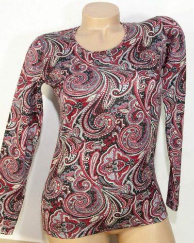 Блуза с кашмирен десен в бордо