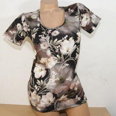 """Дамска блуза """"Вечерни лилии"""" с къс ръкав"""