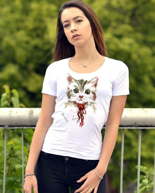 Дамска тениска с рисуванo коте