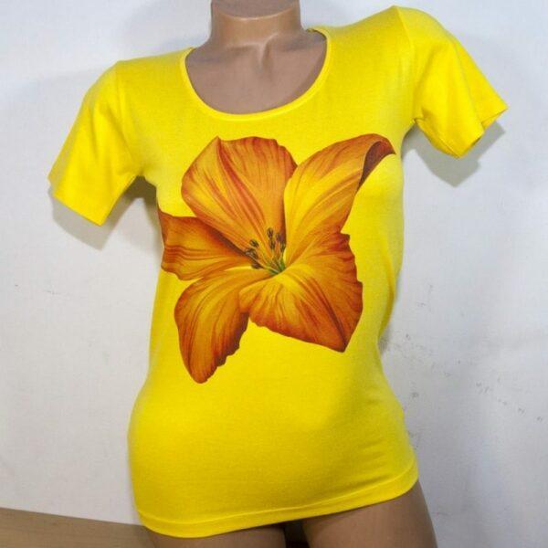 Блуза жълта с китайска роза